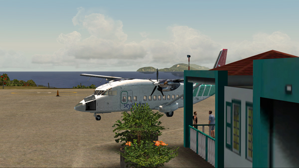 The Shorts 360 is parked at the Juancho E. Yrausquin airport.