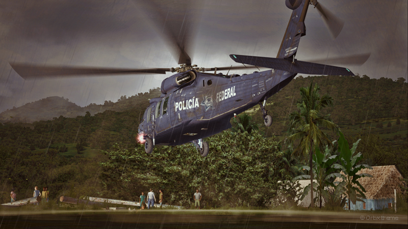 Un hélicoptère UH-60L Black Hawk virtuel de la police colombienne en action.